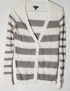 Express Tan and cream striped v neck sweater